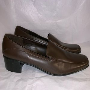 Predictions Square Toe Brown Faux Leather Heels